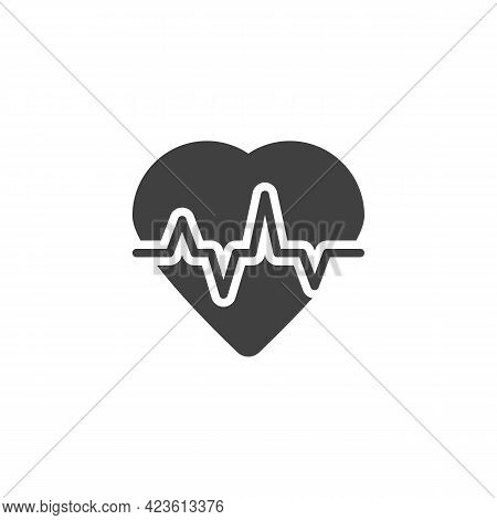 Heartbeat Vector Icon. Filled Flat Sign For Mobile Concept And Web Design. Heart And Pulse Glyph Ico