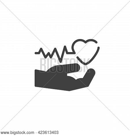 Heart Health Care Vector Icon. Filled Flat Sign For Mobile Concept And Web Design. Hand With Heart B