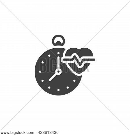 Measure Heart Vector Icon. Filled Flat Sign For Mobile Concept And Web Design. Stopwatch And Heart B