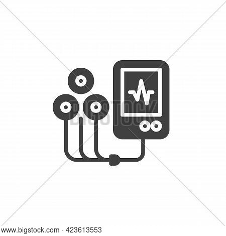 Ecg Machine Vector Icon. Filled Flat Sign For Mobile Concept And Web Design. Heart Rate Measure Glyp