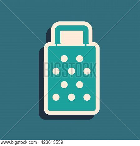 Green Grater Icon Isolated On Green Background. Kitchen Symbol. Cooking Utensil. Cutlery Sign. Long
