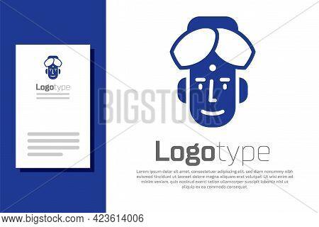 Blue Portrait Of Indian Man Icon Isolated On White Background. Hindu Men. Logo Design Template Eleme
