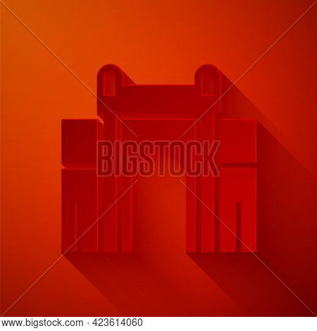 Paper Cut India Gate In New Delhi, India Icon Isolated On Red Background. Gate Way Of India Mumbai.