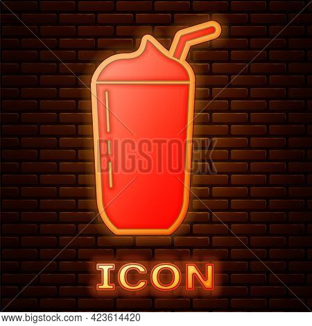 Glowing Neon Milkshake Icon Isolated On Brick Wall Background. Plastic Cup With Lid And Straw. Vecto