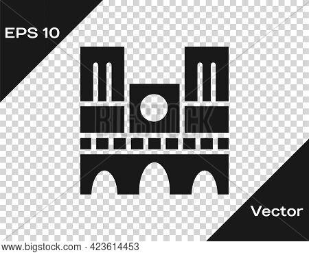 Black Landmark Of France Notre Dame De Paris Icon Isolated On Transparent Background. Vector