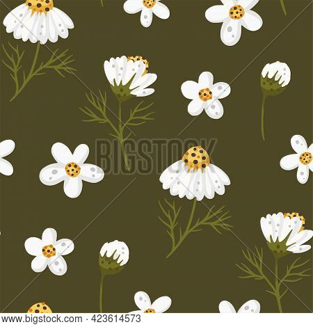 Cartoon Chamomile Daisy Flower Seamless Pattern Illustration. Cute Decorative Floral Nature Graphic