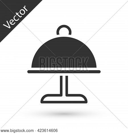 Grey Covered With A Tray Of Food Icon Isolated On White Background. Tray And Lid. Restaurant Cloche