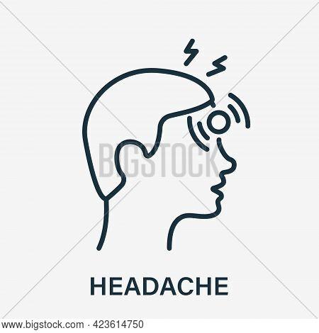 Headache Line Icon. Disease Head, Fatigue Concept. Migraine, Health Problem, Pain Face, Stress, Tire