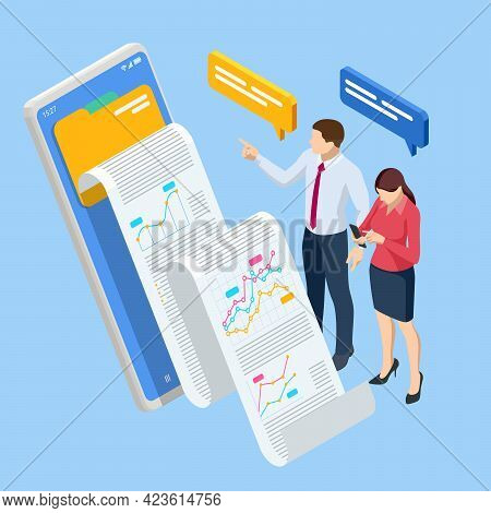 Isometric Expert Team For Data Analysis, Business Statistic, Management, Consulting, Marketing. B2b.