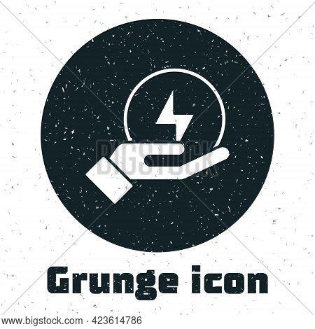 Grunge Lightning Bolt Icon Isolated On White Background. Flash Sign. Charge Flash Icon. Thunder Bolt