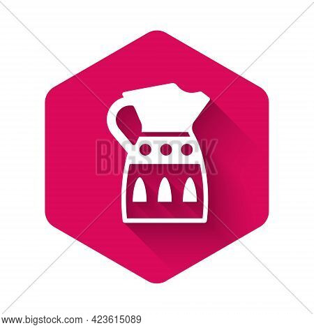 White Sangria Pitcher Icon Isolated With Long Shadow. Traditional Spanish Drink. Pink Hexagon Button