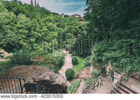 Luxembourg. Stone Pathway Walkway Lane Path With Green Bushes In Park. Beautiful Alley In Summer Par