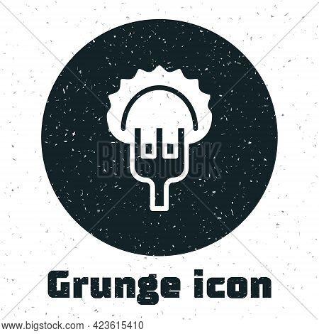 Grunge Dumplings On Fork Icon Isolated On White Background. Pierogi, Varenyky, Pelmeni, Ravioli. Tra
