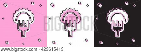 Set Dumplings On Fork Icon Isolated On Pink And White, Black Background. Pierogi, Varenyky, Pelmeni,