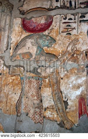 A Bas Relief Sculpture Of The Lion Headed Goddess Sekhmet Carved Onto The Wall Of The Ancient Egypti