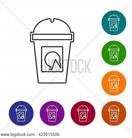 Black Line Coffee Cup To Go Icon Isolated On White Background. Take Away Print. Set Icons In Color C
