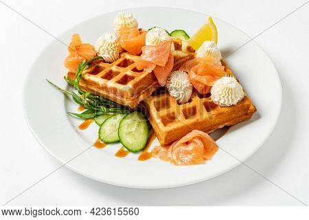 belgian waffles with salmon and cream cheese
