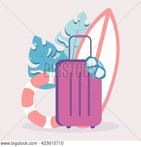 Concept Of A Flat Vector Illustration With Luggage And Leisure Equipment. Modern Illustration With S