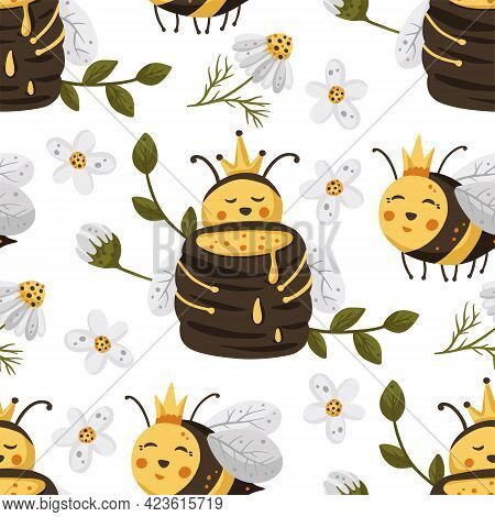 Honey Cute Bee Insect Summer Seamless Pattern Background. Cartoon Baby Fly Nature Design With Daisy