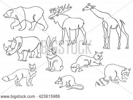 One Line Animals Set, Logos. Animal Continuous Line Drawing Vector Illustration With Giraffe, Rhino,