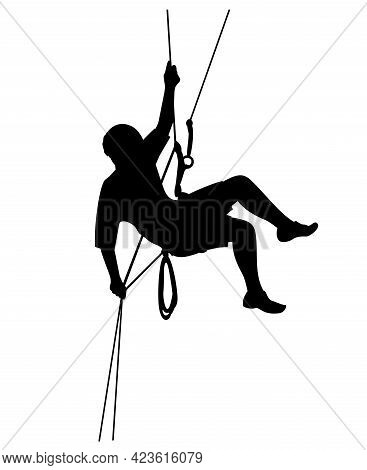 Silhouette Of A Climber. Sports And Leisure, Editable Vector Illustration Of Climber Silhouette.