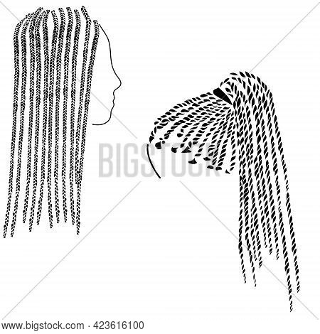 Small Braids In Afro Style On Long Hair Silhouette, Two Options For Hairstyles With Braiding Vector