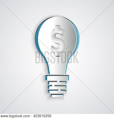 Paper Cut Light Bulb With Dollar Symbol Icon Isolated On Grey Background. Money Making Ideas. Fintec