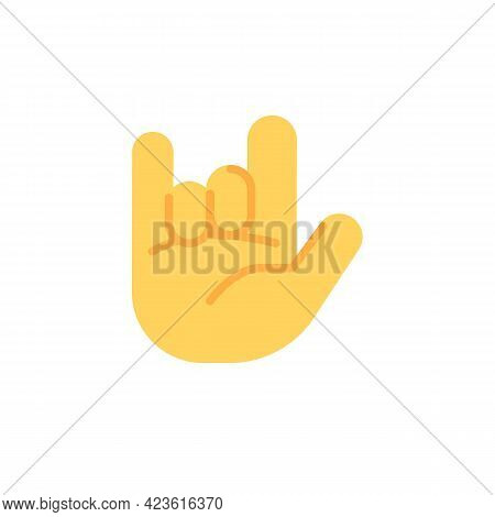 Rock On Hand Gesture Flat Icon, Rock And Roll Vector Sign, Colorful Pictogram Isolated On White. Sym
