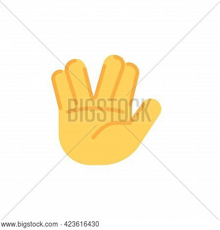 Salute, Greeting Hand Gesture Flat Icon, Vector Sign, Colorful Pictogram Isolated On White. Symbol,