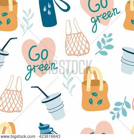 Seamless Pattern With Eco-friendly Items. Textile And Paper Bags, Cups. Go Green.  Zero Waste Backgr