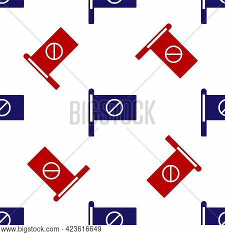 Blue And Red Protest Icon Isolated Seamless Pattern On White Background. Meeting, Protester, Picket,