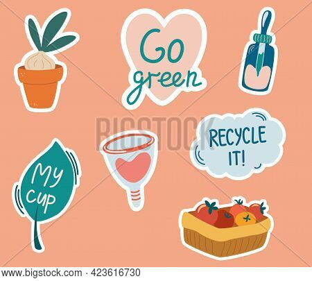 Set Of Stickers With Zero Waste Concepts. Slogans With Cartoon Illustrations. Eco Friendly Tools, Ze