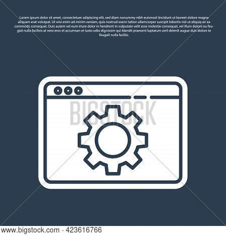 Blue Line Browser Setting Icon Isolated On Blue Background. Adjusting, Service, Maintenance, Repair,