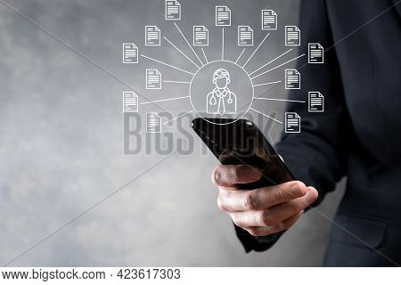 Document Management System Dms .businessman Hold Doctor And Document Icon.software For Archiving, Se