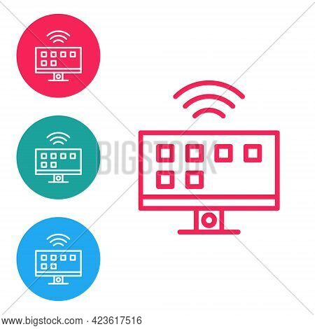 Red Line Smart Tv System Icon Isolated On White Background. Television Sign. Internet Of Things Conc