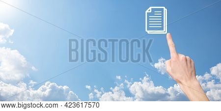 Male Hand Holding A Document Icon On Blue Background. Document Management Data System Business Inter