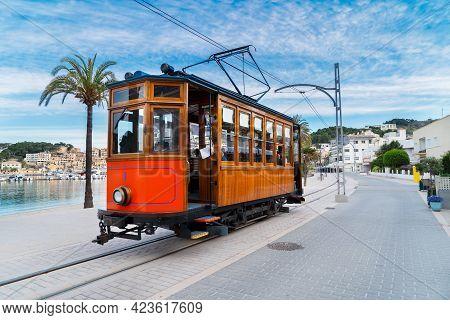 Old Tram Of Port Soller Beach, Mallorca At Summer