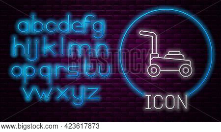 Glowing Neon Line Lawn Mower Icon Isolated On Brick Wall Background. Lawn Mower Cutting Grass. Neon