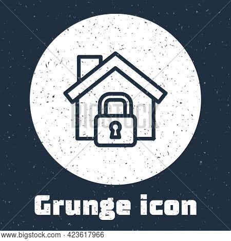 Grunge Line House Under Protection Icon Isolated On Grey Background. Home And Lock. Protection, Safe