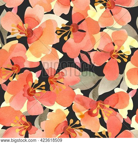 Hand-painted Seamless Pattern With Abstract Flowers Of Multi-hued Warm Autumn Palette On Black Backg