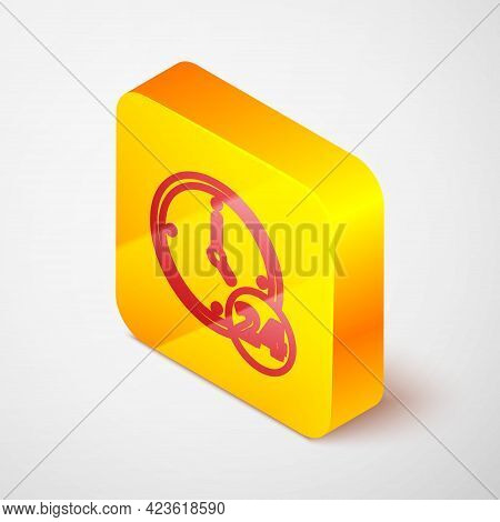 Isometric Line Clock 24 Hours Icon Isolated On Grey Background. All Day Cyclic Icon. 24 Hours Servic