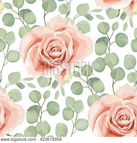 Floral Seamless Pattern With Creamy Rose And Eucalyptus Silver Dollar Tree Leaves. Elegant Design Fo