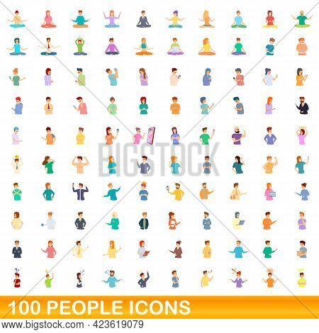 100 People Icons Set. Cartoon Illustration Of 100 People Icons Vector Set Isolated On White Backgrou