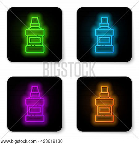 Glowing Neon Line Mouthwash Plastic Bottle And Glass Icon Isolated On White Background. Liquid For R