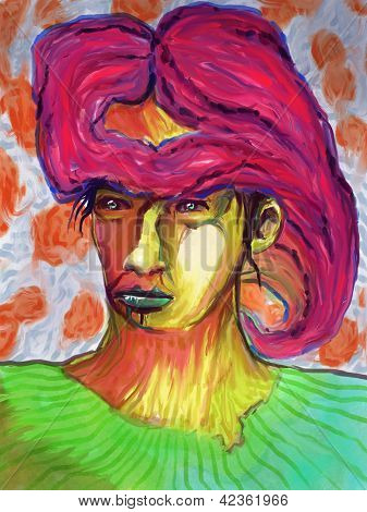 Mischtechnik abstrakte Gesicht digitale Malerei