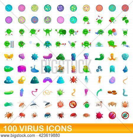 100 Virus Icons Set. Cartoon Illustration Of 100 Virus Icons Vector Set Isolated On White Background