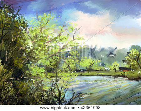 digitale Malerei am See