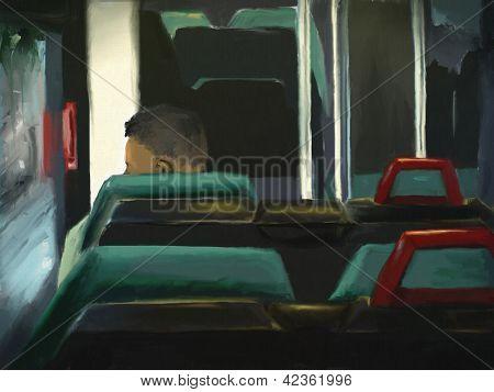 Mann fährt des Bus-digitales malen