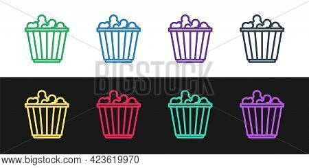 Set Line Popcorn In Cardboard Box Icon Isolated On Black And White Background. Popcorn Bucket Box. V