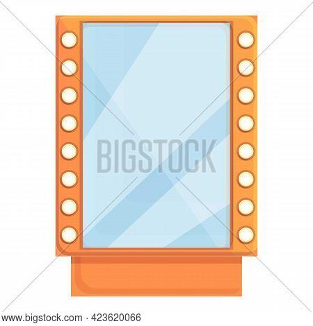 Illuminated Mirror Icon. Cartoon Of Illuminated Mirror Vector Icon For Web Design Isolated On White